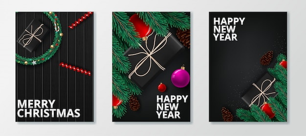 Carte de voeux de bonne année 2020 et joyeux noël.