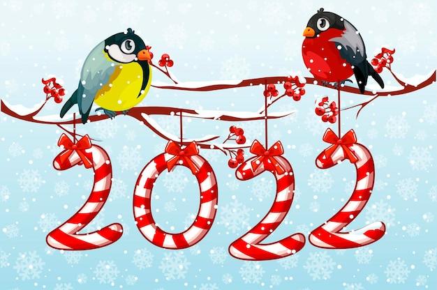 Carte de voeux bonne année 2022 bonbons avec des oiseaux.