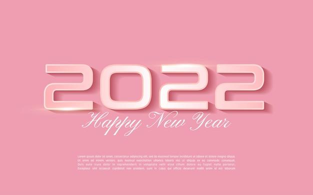 Carte de voeux de bonne année 2022 en couleur rose tendre - lettrage 2022 sur fond rose - vecteur d'illustrateur