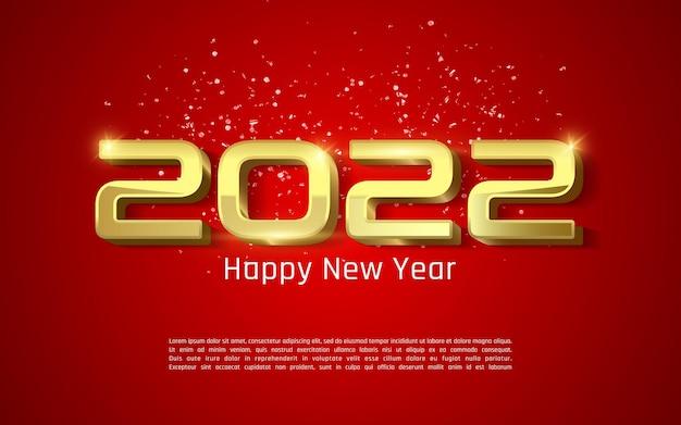 Carte de voeux de bonne année 2022 en couleur rouge et or - brillant doré 2022 lettrage sur fond rouge - vecteur d'illustrateur