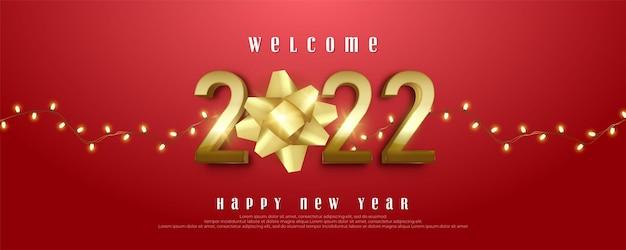 Carte de voeux bonne année 2022 avec lumières décoratives