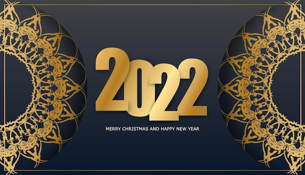 Carte de voeux de bonne année 2022 noire avec motif d'or d'hiver