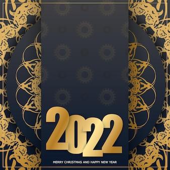 Carte de voeux de bonne année 2022 noire avec motif or vintage