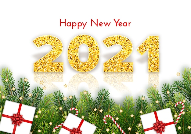 Carte de vœux bonne année avec des branches de sapin, des cannes de bonbon, des cadeaux et des arcs