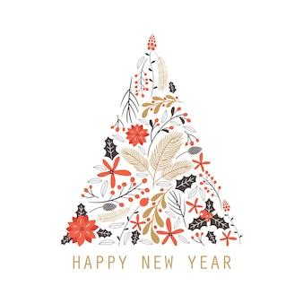 Carte de voeux de bonne année avec des éléments de dessin à la main.