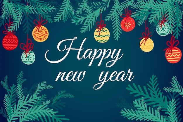 Carte de voeux - bonne année avec des éléments festifs et des branches de sapin vert.