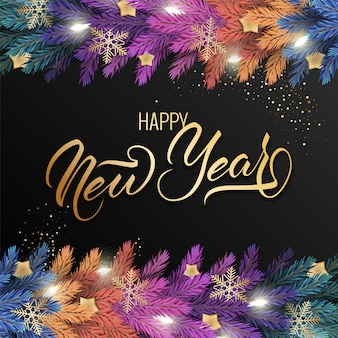 Carte de voeux de bonne année avec une guirlande colorée réaliste de branches de pin, décorée de lumières, d'étoiles dorées