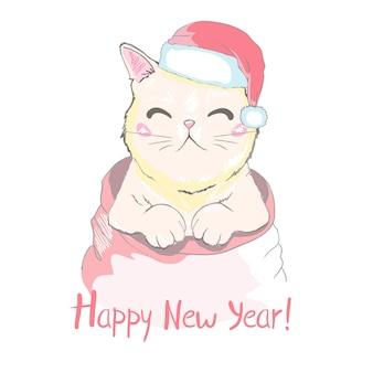 Carte de voeux de bonne année avec joli visage de chat drôle dans un chapeau de père noël
