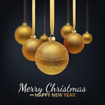 Carte de voeux avec bonne année et noël, boules de noël or métallique