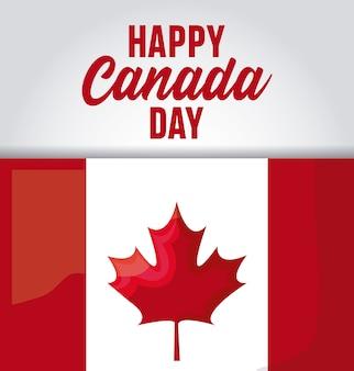 Carte de voeux de bonne fête canada avec drapeau