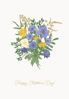 Carte de voeux bonne fête des mères avec beau bouquet