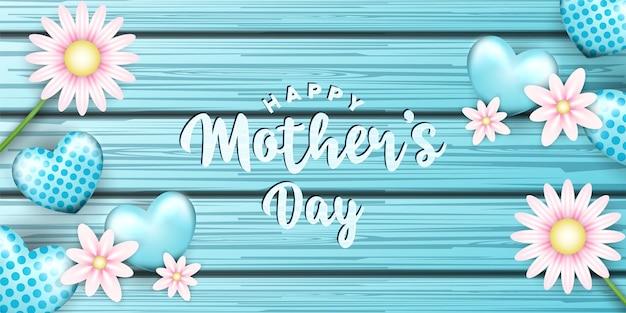Carte de voeux bonne fête des mères dans des formes et des fleurs de foyer en bois et réalistes