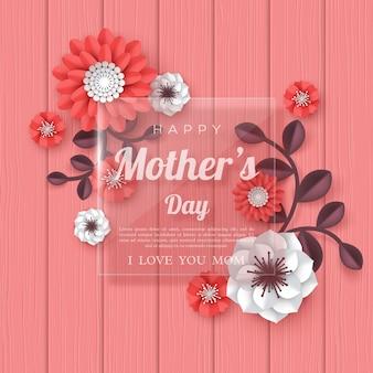 Carte de voeux bonne fête des mères. fleurs coupées en papier 3d avec cadre transparent en verre