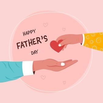 Carte de voeux bonne fête des pères avec enfant donnant l'amour en forme de coeur au père