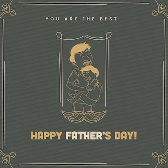 Carte de voeux de bonne fête des pères avec l'homme d'art de ligne étreignant son s