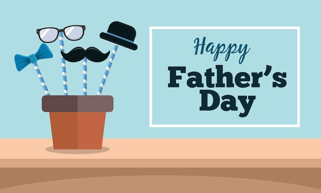 Carte de voeux de bonne fête des pères avec moustache, chapeau, lunettes et cravate au design plat