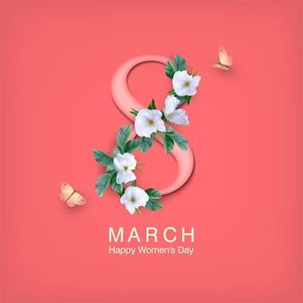 Carte de voeux de bonne journée de la femme le 8 mars