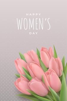 Carte de voeux de bonne journée des femmes le 8 mars. délicates tulipes roses.