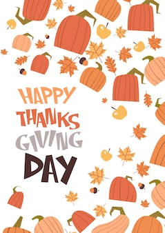 Carte de voeux de bonne récolte traditionnelle d'automne de thanksgiving day