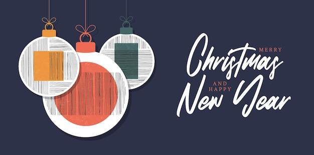 Carte de voeux de boule de noël et du nouvel an avec des boules de noël décoratives d'art moderne et une toile de fond d'étoiles. boule de conception géométrique minimale des années 20, modèle vectoriel avec des éléments de formes primitives