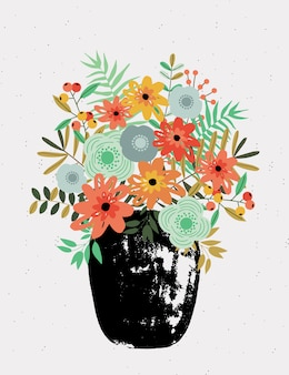 Carte de voeux avec bouquet dans un vase.