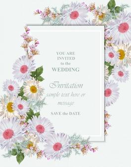 Carte de voeux avec bouquet de fleurs de camomille
