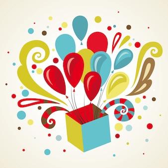 Carte de voeux cadeau avec ballons