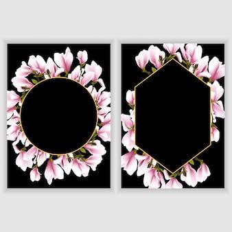Carte de voeux avec cadre de fleur de magnolia