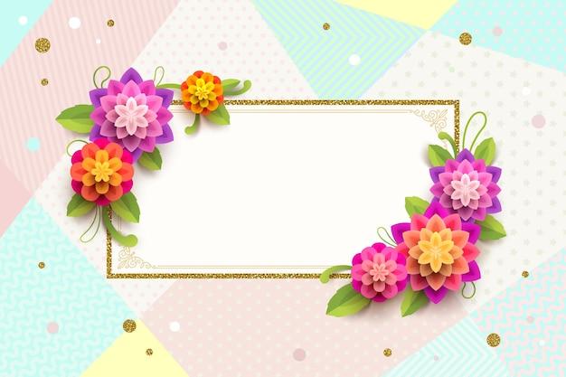 Carte de voeux avec cadre ornemental et fleurs