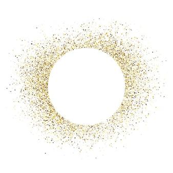 Carte de voeux avec cadre rond blanc sur fond de paillettes dorées. fond blanc vide. illustration vectorielle.