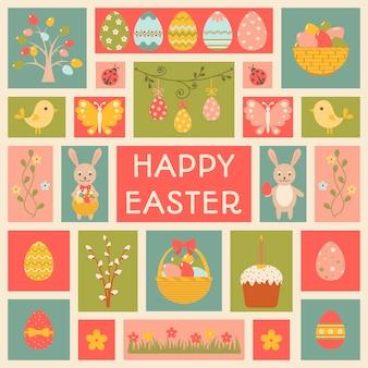 Carte de vœux avec carte d'éléments de pâques