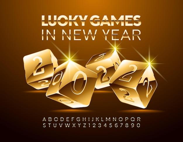 Carte de voeux de casino de luxe de vecteur jeux de chance au nouvel an 2022 police élégante chic golden alphabet