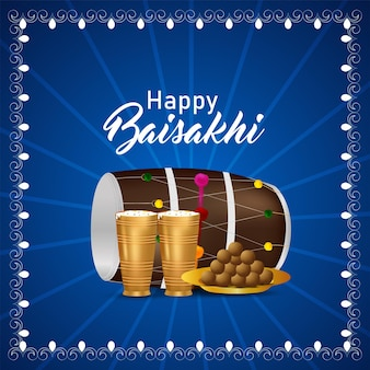 Carte de voeux de célébration du festival sikh indien vaisakhi heureux avec illustration créative