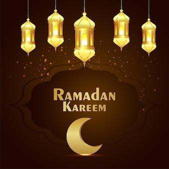 Carte de voeux de célébration du ramadan kareem avec lanterne dorée et lune