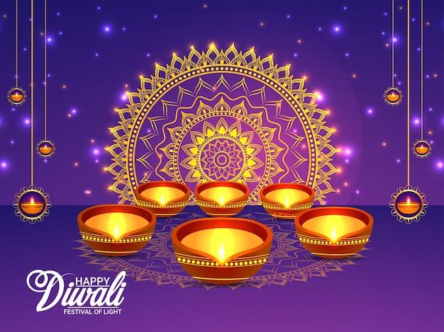Carte de voeux de célébration de joyeux diwali du festival indien avec diwali diya