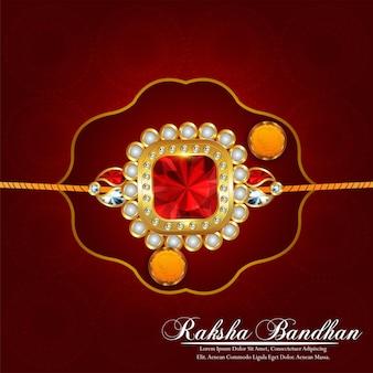 Carte de voeux de célébration de raksha bandhan avec rakhi en cristal