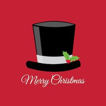 Carte de vœux avec chapeau sur fond rouge