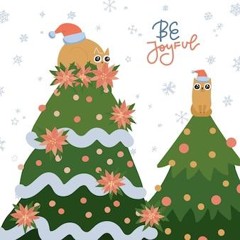 Carte de voeux avec un chat roux sur un arbre de noël, des animaux coquins célébrant les vacances de noël à la maison, soyez joyeux...