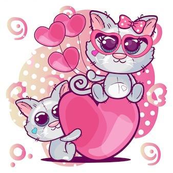 Carte de voeux chatons garçon et fille sur fond de coeur