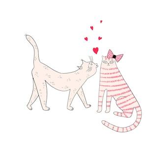 Carte de voeux avec des chats et des coeurs chaton somalien embrassant un chat deux chatons s'embrassant contre