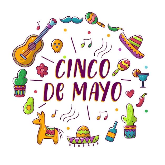 Carte de voeux cinco de mayo avec couronne d'éléments mexicains