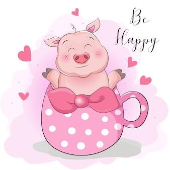 Carte de voeux cochon dessin animé mignon avec une tasse de thé surprise