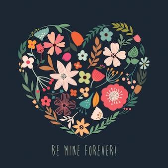 Carte de voeux avec coeur floral