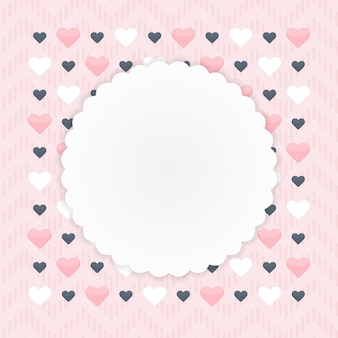 Carte de voeux avec coeurs sur rose. illustration vectorielle