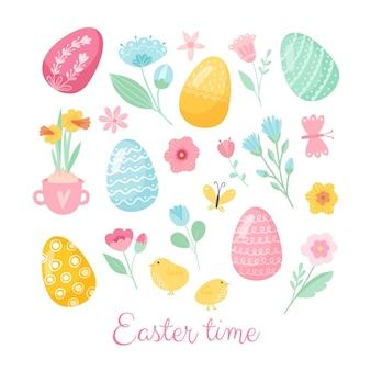 Carte de voeux colorée joyeuses pâques avec lapin, lapin et texte