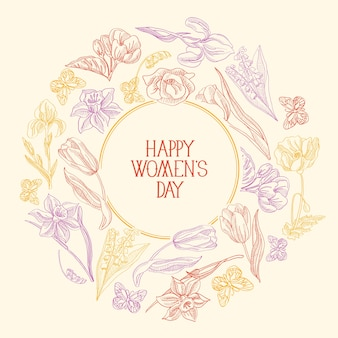 Carte de voeux de composition de croquis de cadre rond coloré avec de nombreux objets autour du texte sur la journée de la femme décorée par l'illustration vectorielle de fleurs