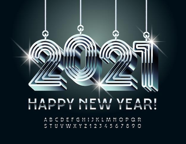Carte de voeux créative bonne année avec des jouets de labyrinthe 2021! police argentée brillante. ensemble de lettres et de chiffres de l'alphabet métallique de luxe