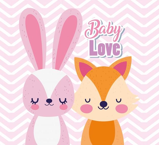 Carte de voeux de dessin animé mignon bébé renard et lapin