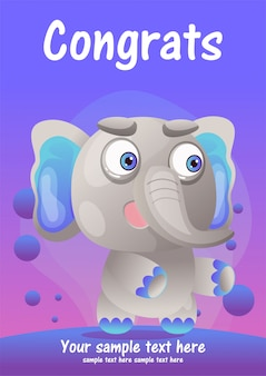Carte de voeux dessin animé mignon éléphant