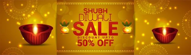 Carte de voeux diwali et bannière de vente